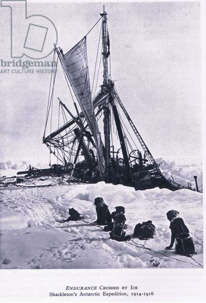 Endurance crushed by ice: Shackleton's Antarctic Expedition, 1914-1916 (Shackleton's Antarctic Expedition, 1914-1916), from British Adventure published by Collins, 1947 (b/w photo)