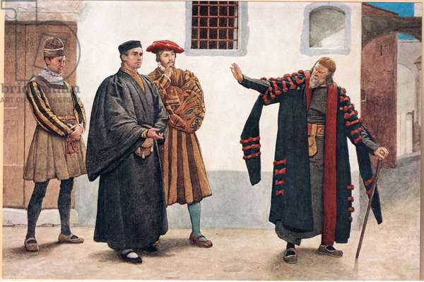 'Tell me not of mercy gaoler, look to him', illustration from 'The Merchant of Venice', c.1910 (colour litho)