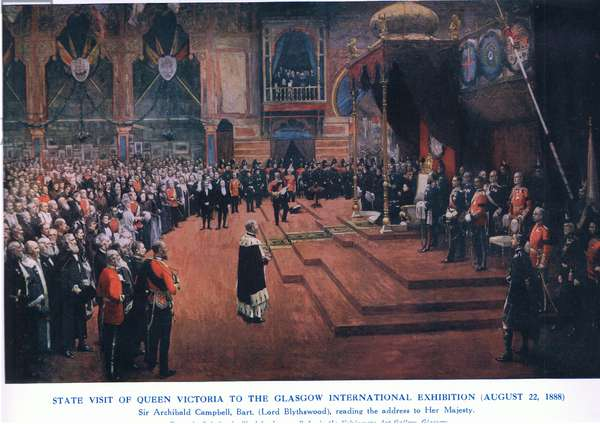 State visit of Queen Victoria to the Glasgow International Exhibition (22 August 1888), from Cassells History of the British People published by the Waverley Book Company Limited, c.1940 (colour litho)