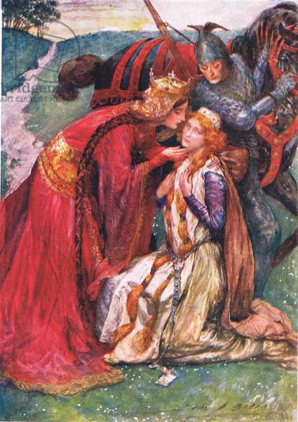 Queen Guinevere Welcomes Enid, illustration for 'Children's Stories from Tennyson' by Nora Chesson (colour litho)