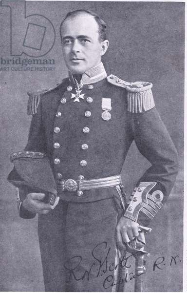 The explorer in full dress uniform of a captain of the Royal Navy, illustration from'Cassell's Romance of Famous Lives', c.1940