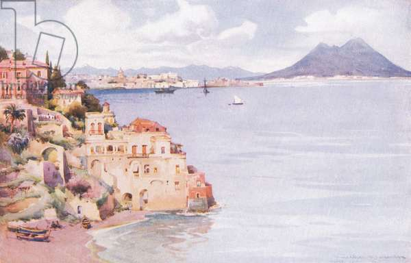 The Bay of Naples, from Hutchinson's Picturesque Europe published by Hutchinson & Son, c.1930 (colour litho)