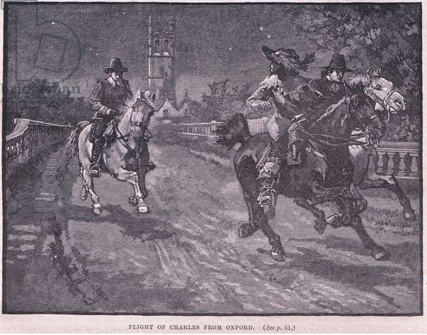 Flight of Charles I from Oxford AD 1646 (litho)