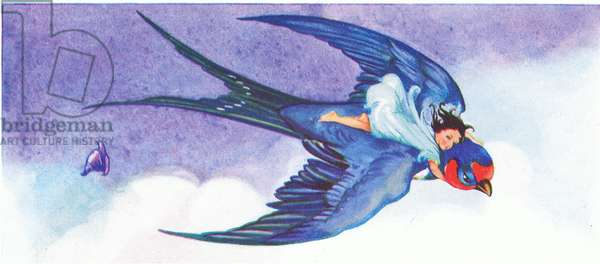 """""""Come and fly with me, you sweet little Thumbalina"""", from Tiny Thumbalina published by Edmund Ward, c.1940 (colour litho)"""