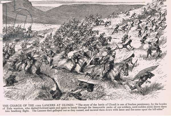 The Charge of the 17th Lancers at Ulundi, illustration from 'Our Fathers' by Alan Bott, 1932 (litho)