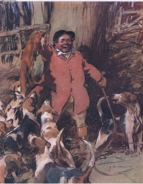 Holdin' him abov ethe baying pack, from Mr Jorrocks' Lectors published by Hodder & Stoughton, 1910 (colour litho)