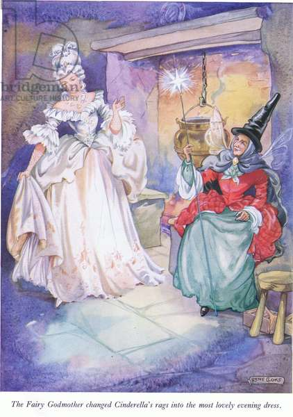The Fairy Godmother changed Cinderella's rags into the most lovely evening dress (colour litho)