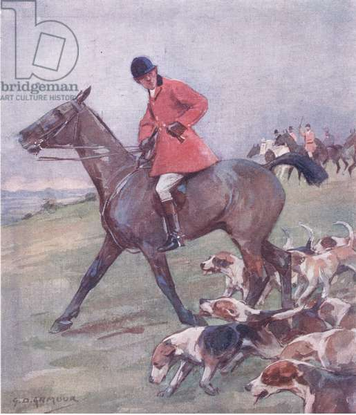 Meanwhile the 'untsman makes his cast, from Mr Jorrocks' Lectors published by Hodder & Stoughton, 1910 (colour litho)