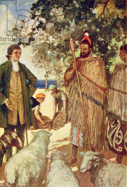 Captain Cook (1728-79) presents the natives with some sheep and goats, illustration from 'The Book of Discovery' by T.C. Bridges, published 1931 (colour litho)
