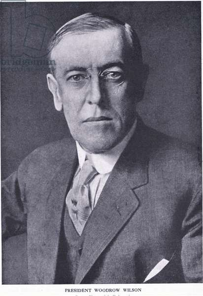 President Woodrow Wilson, from Cassells History of the British People published by the Waverley Book Company Limited, c.1940 (b/w photo)