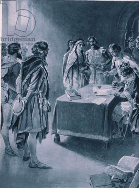 Henry III granting a royal charter to the men of Newcastle to dig coal 1234 AD (litho)