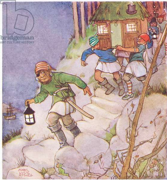 Carrying the little house, illustration from'J M Barrie's Peter Pan and Wendy', 1951 (colour litho)