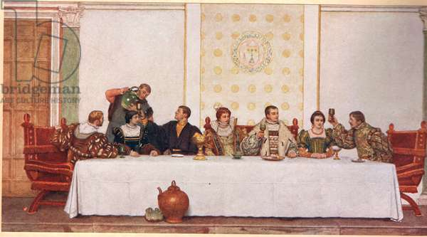 The Wedding Feast, illustration from 'The Merchant of Venice', c.1910 (colour litho)
