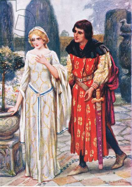 Sir Lancelot and Elaine, illustration for 'Children's Stories from Tennyson' by Nora Chesson (colour litho)