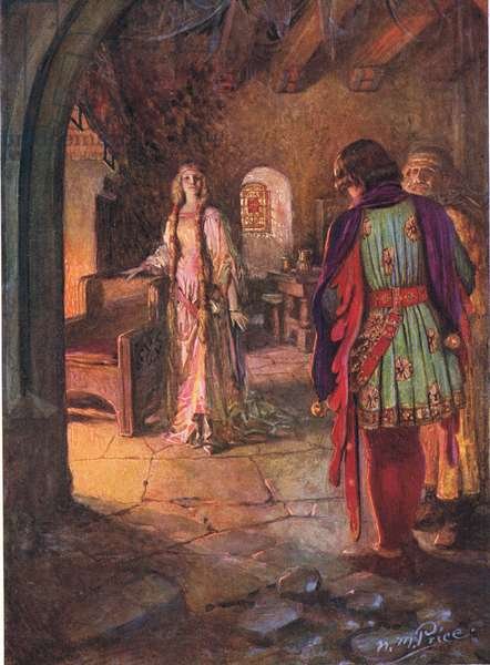 Geraint had never seen so fair and sweet a lady, illustration from 'The Children's Tennyson: Stories in Prose and Verse from Alfred Lord Tennyson' by May Byron, 1910 (colour litho)