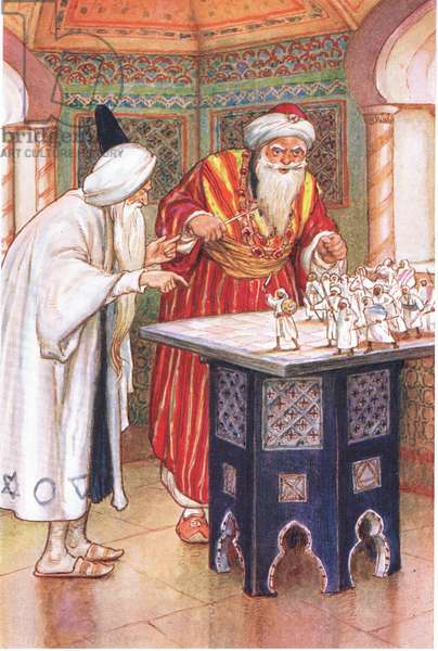 King Aben Kabuz and the Arabian Astrologer (from the story The Arabian Astrologer), illustration from'Tales of Alhambra', c.1940 (colour litho)