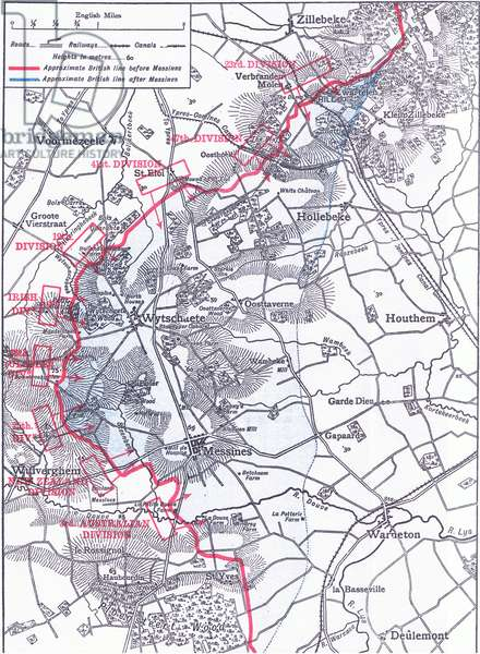 Map to illustrate the Battle of Messines (June 1917), illustration from European History: Great Leaders and Landmarks Vol 6 The Great War published by The Gresham Publishing Company, c.1920 (litho)