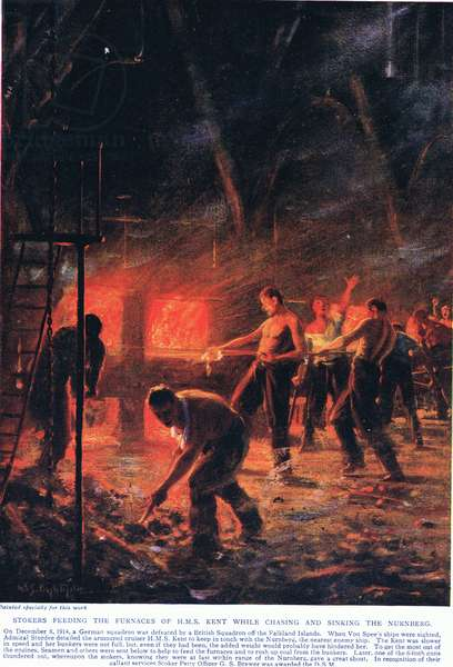 Stokers feeding the fires of HMS Kent while chasing and sinking the Nurnberg, illustration from 'Deeds that Thrill the Empire', published by Hutchinson & Co., c.1920 (colour litho)