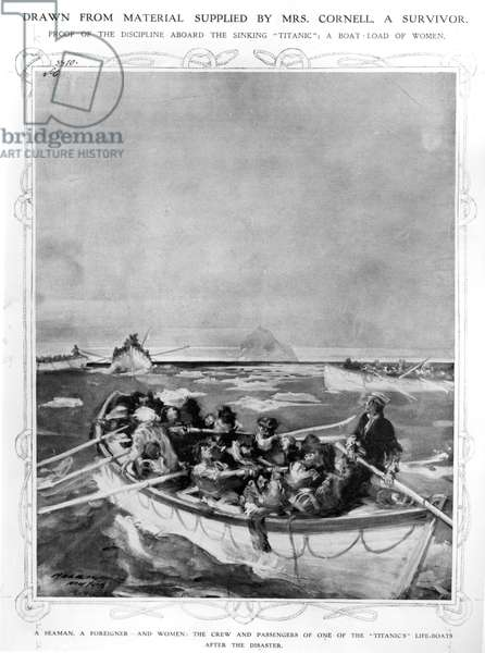 The crew and female passengers in one of the 'Titanic' lifeboats, 1912 (w/c on paper) (b/w photo)