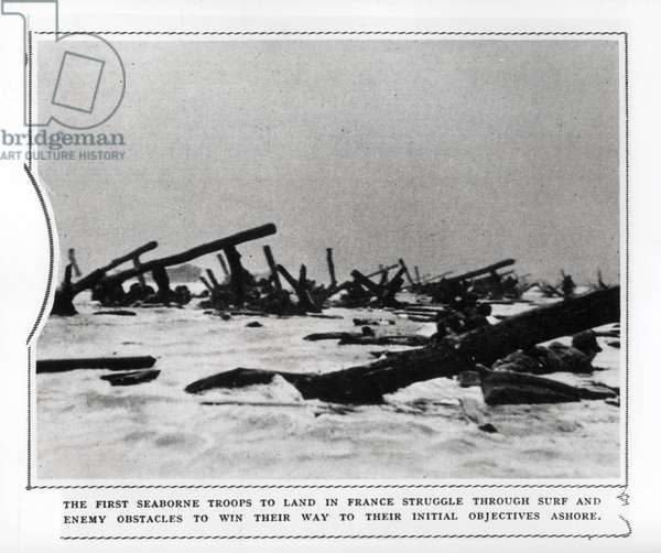 The first seaborne troops to land in France, 1944 (b/w photo)
