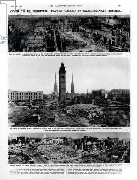 Never to be Forgiven: Ravage Caused by Indiscriminate Bombing, from 'The Illustrated London News', 29th November 1941 (b&w photo)