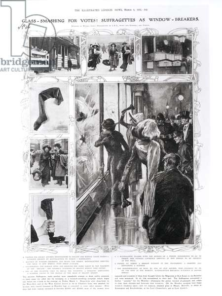 Glass-Smashing for Votes! Suffragettes as Window-Breakers, 1912 (litho)