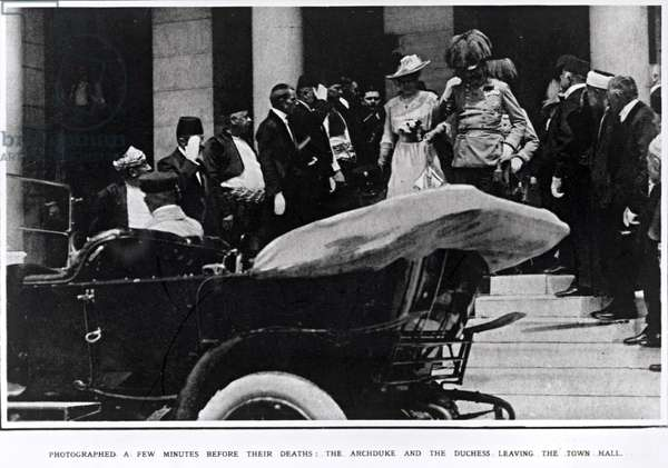 Archduke Franz Ferdinand of Austria (1863-1914) and the Duchess leaving the Town Hall, 1914 (b/w photo)