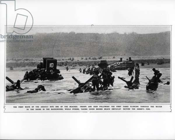The first wave of the assault hits one of the beaches, 1944 (b/w photo)