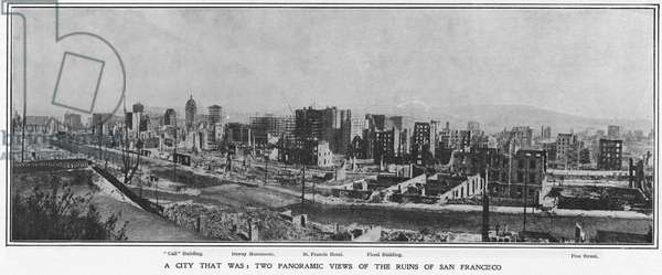 Panoramic view of the ruins of San Francisco after the 1906 earthquake, 1906 (b/w photo)