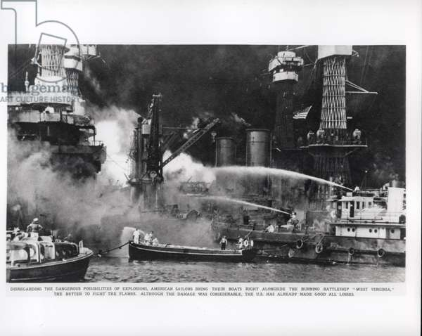 American Sailors fight the flames on the battleship 'West Virginia', 1941 (b/w photo)