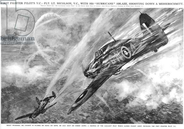 The First Fighter Pilot's V.C.: Flt. Lt. Nicolson, V.C. with his Hurricane Ablaze, Shooting Down a Messerschmitt, 1940 (litho) (b/w photo)