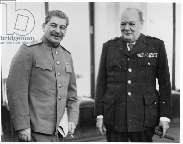 Joseph Stalin (1879-1953) and Winston Churchill (1874-1965) at the Yalta Conference, 1945 (b/w photo)