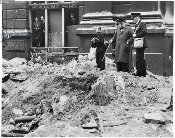 Winston Churchill Inspecting a Bomb Crater in London, 10th September 1940 (black and white photograph)