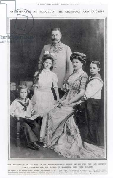 Portrait of Archduke Franz Ferdinand of Austria (1863-1914) and his family (b/w photo)