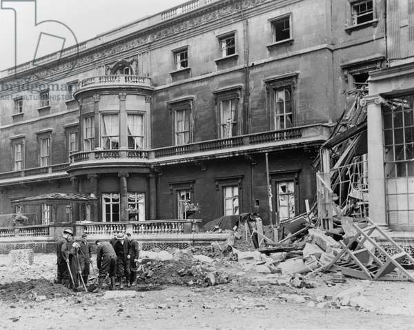 Winston Churchill (1874-1965) inspecting war damage to Buckingham Palace, September 1940 (b/w photo)