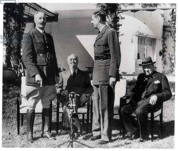 General Giraud (1879-1949), Franklin D.Roosevelt (1882-1945), General Charles de Gaulle (1890-1970) and Winston Churchill (1874-1965) at the Casablanca Conference, January 1943 (b/w photo)