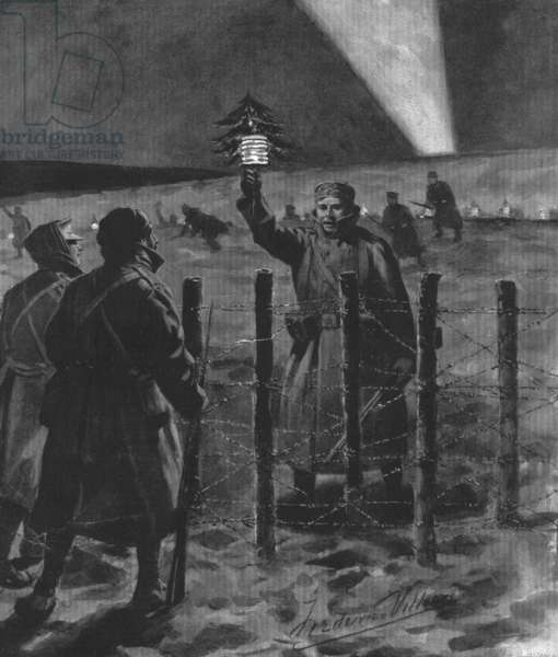 The Christmas Day Truce of 1914, published 1915 (litho) (b/w photo)
