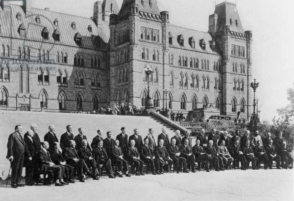 The Ottawa Conference - an official photograph of the delegates, from 'The Illustrated London News', 20th August 1932 (b&w photo)
