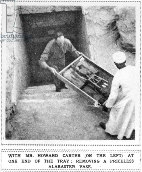 Howard Carter (1874-1939) Removing Treasures from the Tomb of Tutankhamun, 1923 (b/w photo)