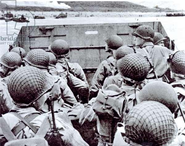 Nearing the Shore - A Tense Moment, 1944 (b/w photo)