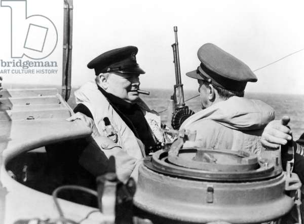 Winston Churchill (1874-1965) with General Sir Alan Brooke (1883-1963) on the Bridge of a Warship (b/w photo)