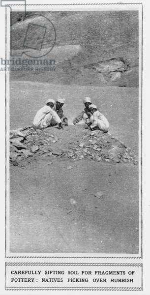 Local Egyptian workers sifting soil for fragments of pottery (b/w photo)