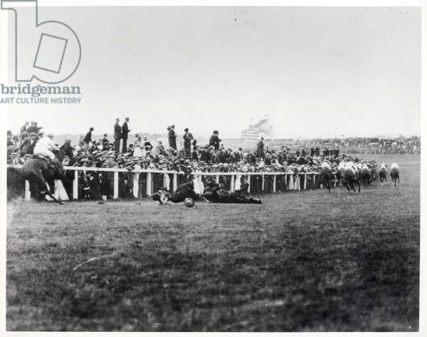 The Fall of the King's Horse caused by Emily Davison at the Derby, 1913 (b/w photo)