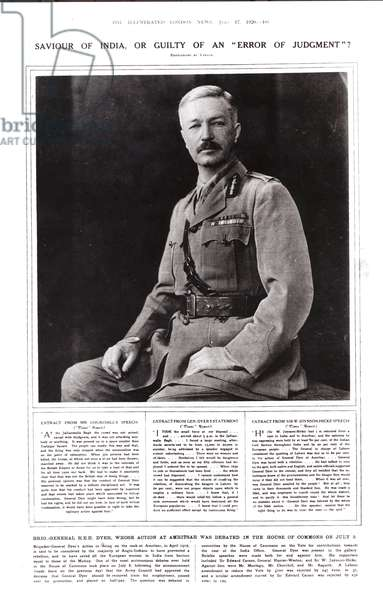 Saviour of India, or Guilty of an 'Error of Judgment', Brigadier General R.E.H. Dyer, 1920 (engraving) (b/w photo)
