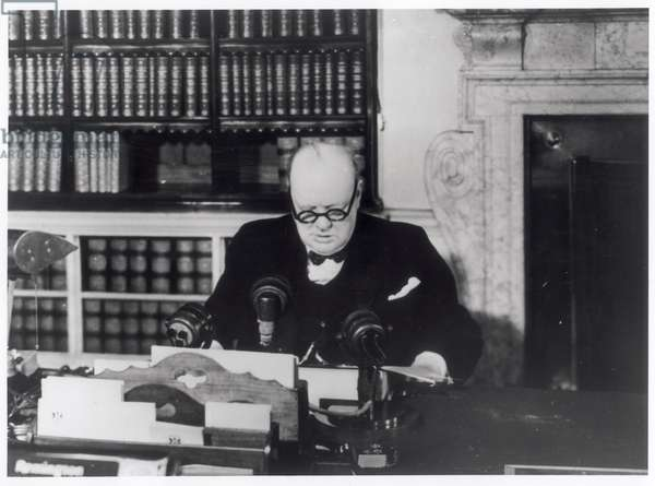 Winston Churchill (1874-1965) makes his VE Day broadcast, 8th May 1945 (b/w photo)