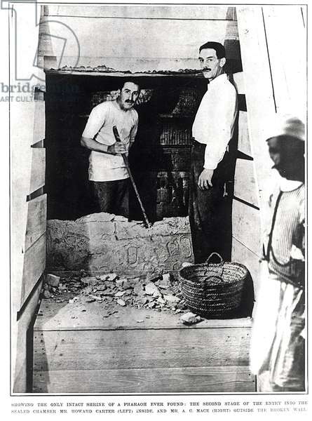 The Second Stage of the Entry into the Sealed Chamber Showing the Only Intact Shrine of a Pharaoh Ever Found, from 'The Illustrated London News', 10th March 1923 (b/w photo)