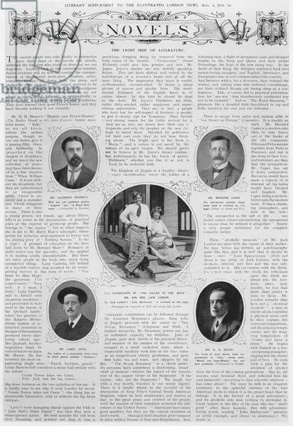 Novels: The Light Side of Literature, from 'The Literary Supplement to the Illustrated London News', 1st August 1914 (b&w photo)