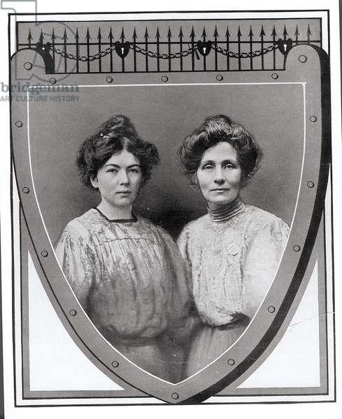 Mrs Emmeline Pankhurst (1858-1928) and her Daughter, Christabel (1880-1958), 1908 (b/w photo)