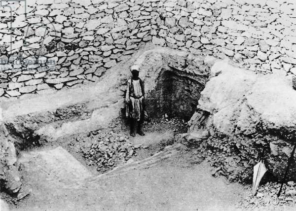 The 'Step cut in the Rock', which led Mr Carter to the discovery of Tutankhamun's tomb: the entrance before excavation (b/w photo)