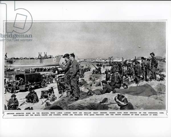 British troops on the conquered beaches, 1944 (b/w photo)